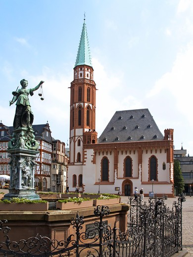 German city Frankfurt Main old town timbered house and Nikolai Church at Roemer : Stock Photo