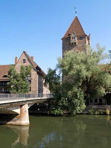 Stock Photo: 4286-68961 Nuremberg Hospice of the Holy Spirit Pegnitz River Franconia Bavaria Germany