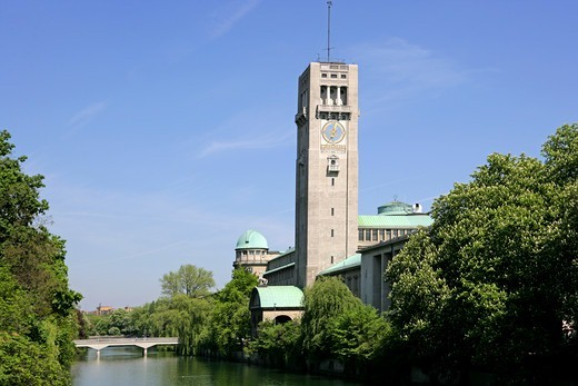 Deutsches Museum with Isar river, Munich, Bavaria, Germany : Stock Photo