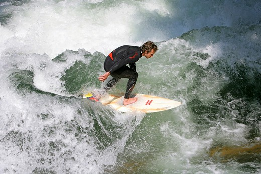 Stock Photo: 4286-69100 Surfer on the River Isar Eisbach near Haus der Kunst Munich Bavaria Germany