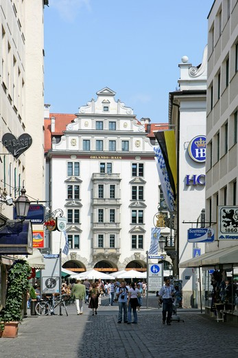 Stock Photo: 4286-69173 Orlando Haus opposite Hofbraeuhaus Munich Bavaria Germany Europe