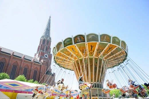 Stock Photo: 4286-69201 chairoplane Wheel carousel at Auer Dult Munich, Bavaria, Germany