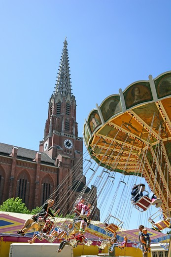 Stock Photo: 4286-69203 chairoplane Wheel carousel at Auer Dult Munich, Bavaria, Germany