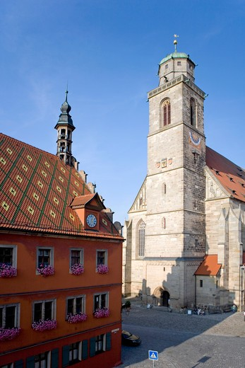 the historic city of Dinkelsbhl, Dinkelsbuehl, Bavaria, Germany : Stock Photo