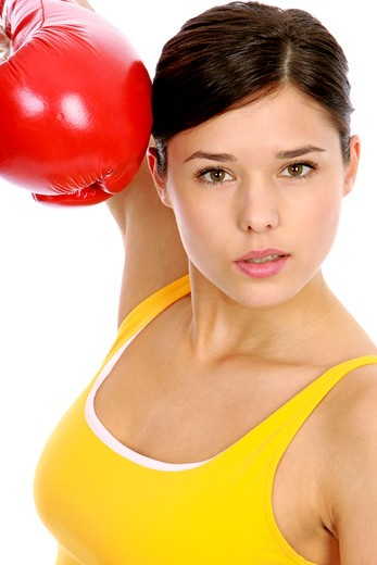 Woman with box gloves : Stock Photo