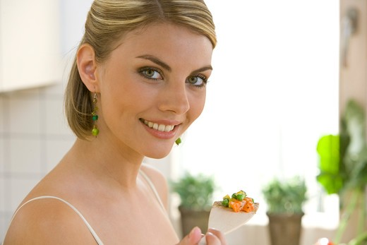 Stock Photo: 4286-71563 woman portrait with food