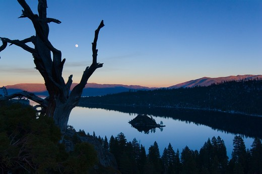 Stock Photo: 4286-72373 The full moon rising over Emerald Bay at sunset with alpenglow at Lake Tahoe California
