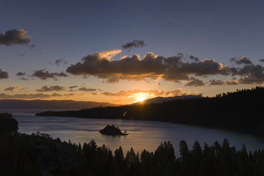 Stock Photo: 4286-72913 Sunrise and clouds above Emerald Bay on Lake Tahoe in California