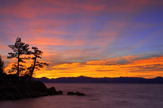 HDR tone mapped Sunset and trees on Lake Tahoe in Nevada : Stock Photo