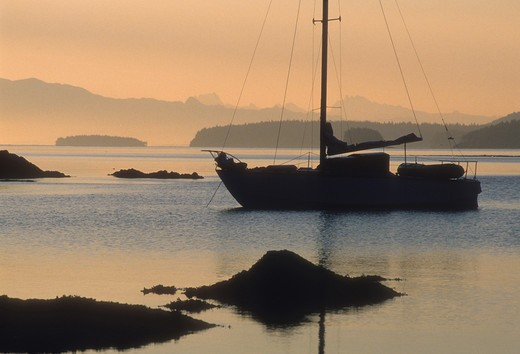 Stock Photo: 4286-73733 Sailboat in Friday Harbor of San Juan Islands, Washington, USA