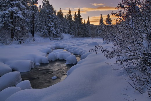 Stock Photo: 4286-73902 The Truckee River at sunrise in winter with snow