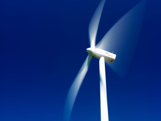 Canada,Ontario,Tiverton,wind turbines used for generating electricity and hydro power lines : Stock Photo
