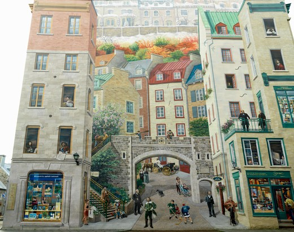 Stock Photo: 4286-74262 Canada,Quebec,Quebec City,The Mural of Quebecers,Petit Champlain Quarter