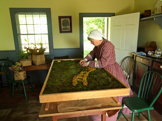 Canada Ontario Morrisburg Upper Canada Village,woman creating a tapestry from moss and dried flowers : Stock Photo