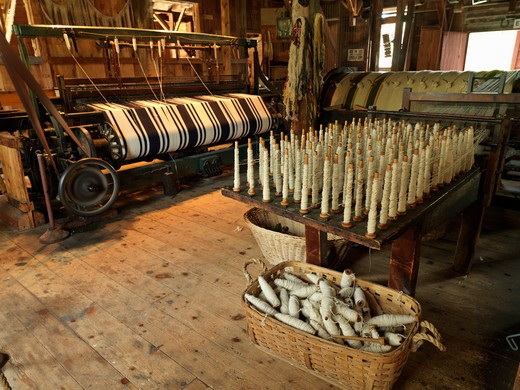Stock Photo: 4286-74340 Canada,Ontario,Morrisburg,Upper Canada Village, recreation of pioneer life circa 1860's, loom using spun sheep wool