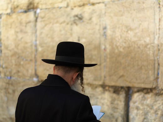 Stock Photo: 4286-74512 Israel, Jerusalem, Western Wall or Wailing Wall with worshipper