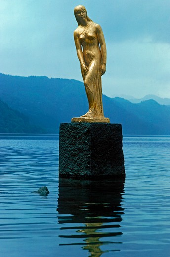 Statue of Princess Tatsuko in Lake Tazawako in Akita Preficture, Japan : Stock Photo