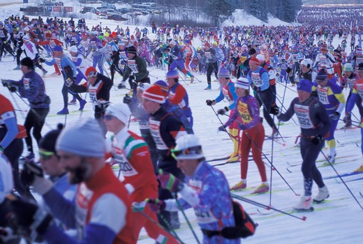 Ten thousand cross country skiers in yearly Vasaloppet race in Sweden : Stock Photo