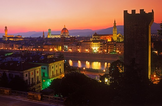 Stock Photo: 4286-75557 Florence on Arno River with Piazza della Signoria left Duomo center and Santa Croce Cathedral right at dusk