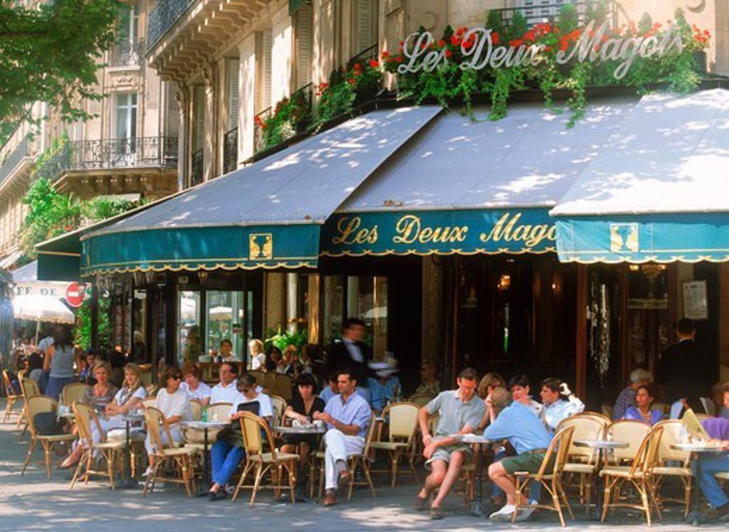Stock Photo: 4286-75563 Caf' Les Deux Magots on Boulevard St. Germain in Paris, France