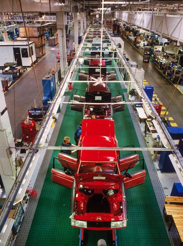Stock Photo: 4286-75956 View from above trim line at Volvo Torslanda Plant near Goteborg or Gothenburg, Sweden