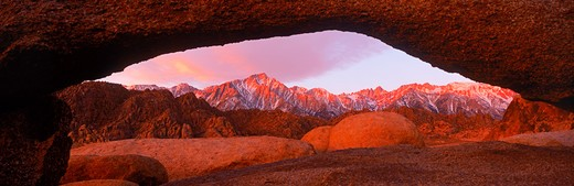 Mount Whitney on right and Lone Pine Peak left in California Sierra Nevada Mountains from  the Alabama Hills at sunrise : Stock Photo