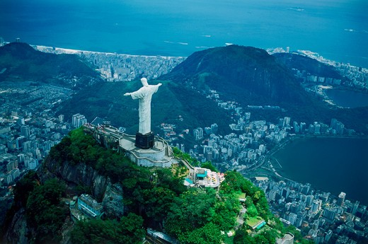 Stock Photo: 4286-76688 Aerial view of Corcovado above Botafogo Bay and Pao de Acucar in Rio de Janeiro