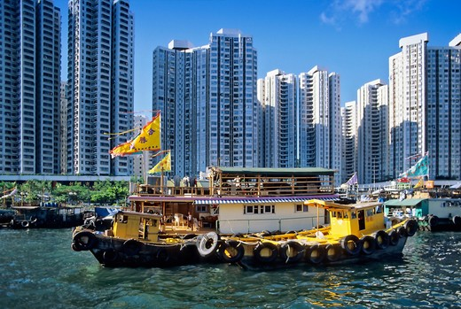 ASIA CHINA HONG KONG. ABERDDEN HARBOUR. BOATS AND HIGHRISES. : Stock Photo