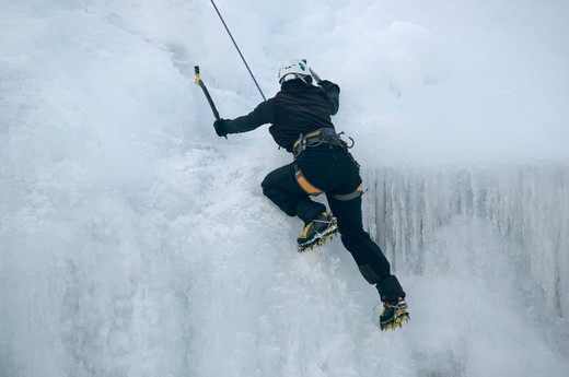 Stock Photo: 4286-78750 Woman ice climbing in Box Canyon, Ouray, Colorado