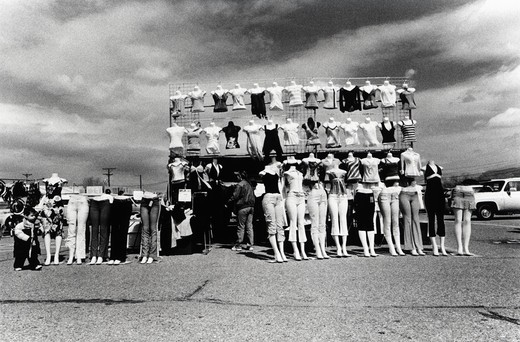 Stock Photo: 4286-78948 Display of women's tops and pants, Flea Market, Albuquerque