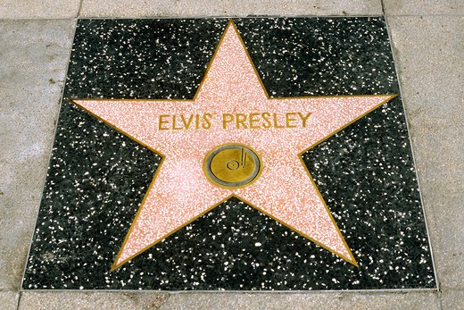 Elvis Presley star at the west end of Hollywood's Walk of Fame, Hollywood, California : Stock Photo