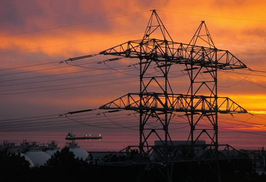 Powerlines at sunset in El Segundo, California : Stock Photo