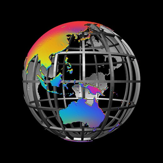 Colorful abstract version of continents of the globe centered on Indonesia and the Philippines and also Australia. Rendered in strong colors for a very graphic appearance, created 2009. The Asian and Australian continents in mostly red, yellow and blue hues and all against a solid black background, all held together by spherical grid in neutral, metallic grey : Stock Photo