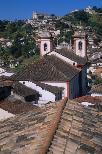 Stock Photo: 4286-80113 Roofs and churches in Ouro Preto, center of gold mining during 18th-century gold mining boom in colonial Brazil, Minas Gerais, Brazil