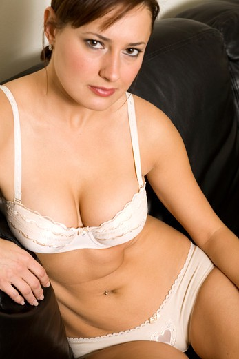 Stock Photo: 4286-81232 Young woman in bra, close up, portrait