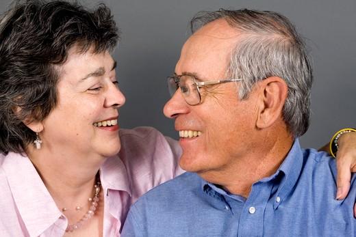 Senior couple smiling, portrait : Stock Photo