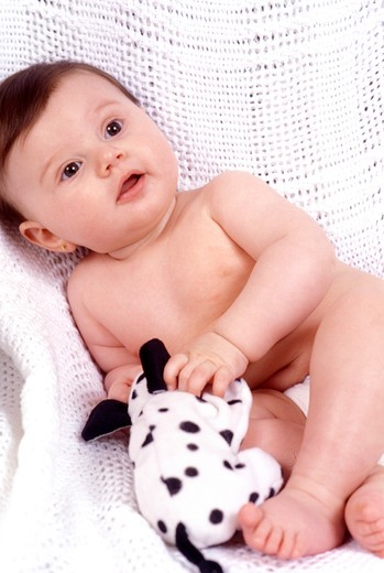 Stock Photo: 4286-81839 Baby (12-15months) holding toy