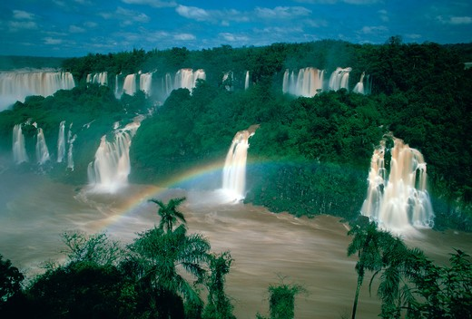 Stock Photo: 4286-84030 Iguazu Falls, located on the border of Brazil, Argentina and Paraguay.