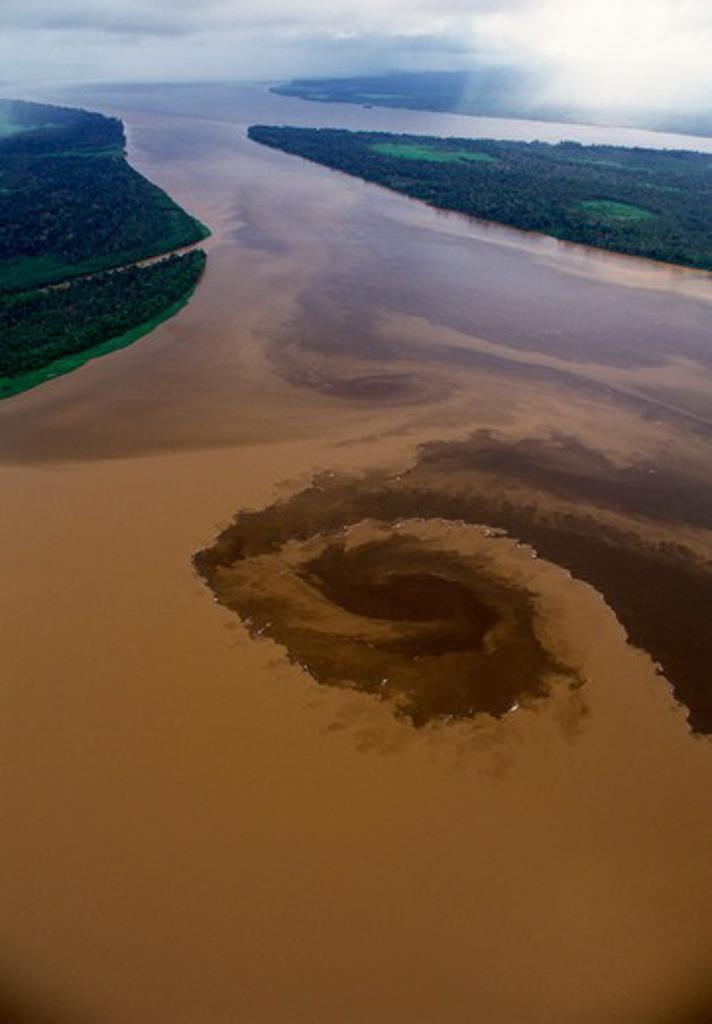 R¡o Xingu and R¡o Tapaj¢s confluence with the Amazon mainstream. : Stock Photo