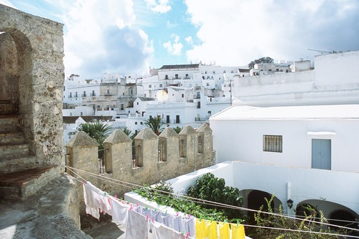 Looking across the rooftops of the walled town of Vejer de la Frontera, Andalucia, Spain : Stock Photo