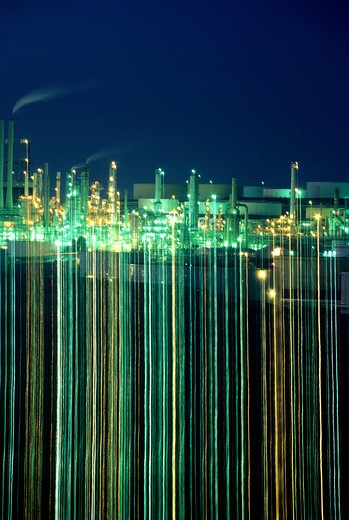 Oil Refinery night abstract lighting Contra Costa California : Stock Photo