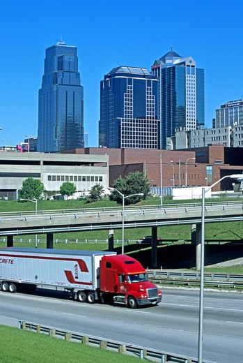 Stock Photo: 4286-84596 Trucking on Interstate highway 35 Kansas City Missouri