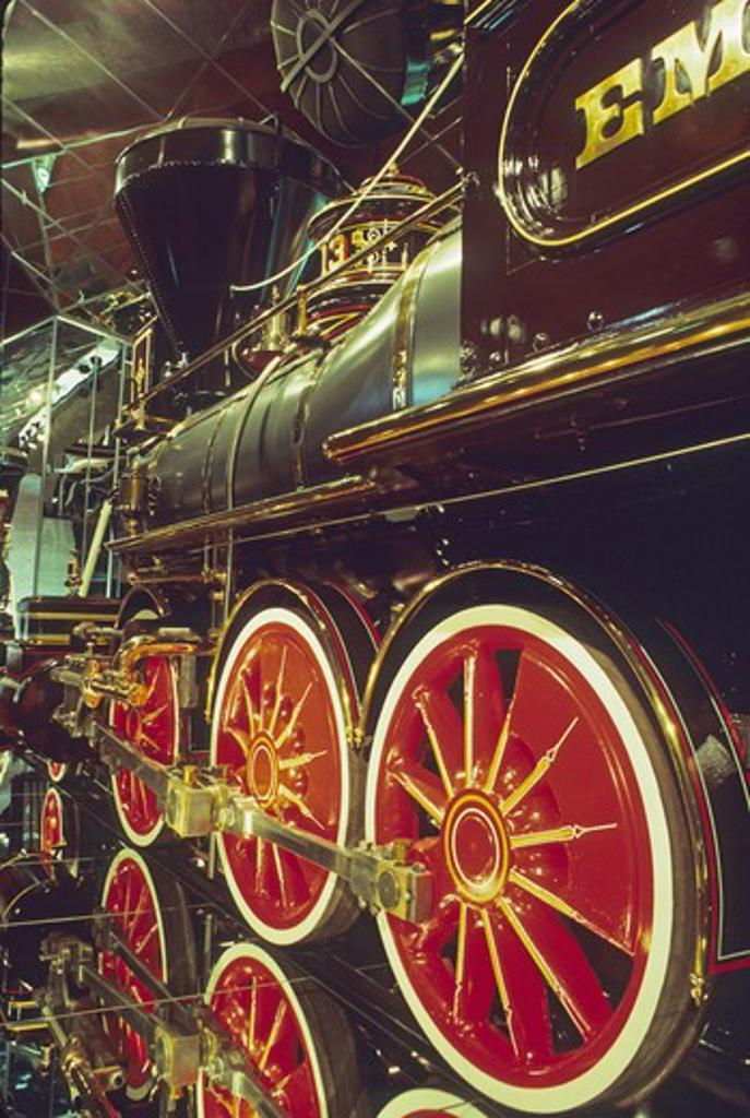 Stock Photo: 4286-84722 Vintage steam locomotive State Railroad Museum Sacramento California