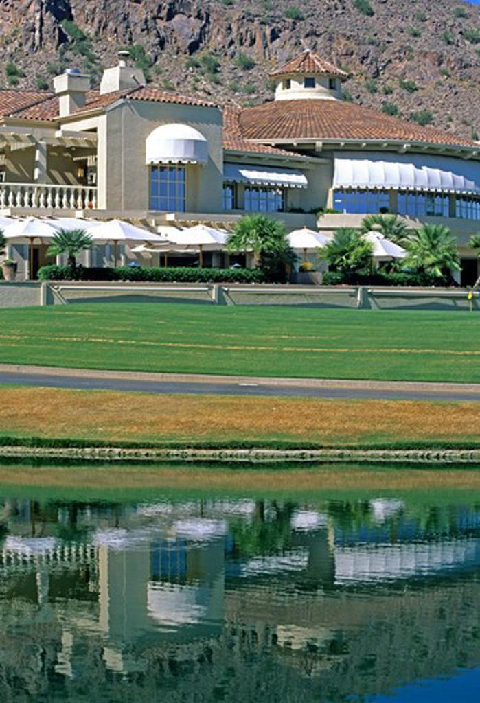 Golf course clubhouse at The Phoenician Scottsdale near Phoenix Arizona : Stock Photo