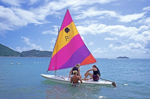 Stock Photo: 4286-85018 people sail sunfish Philipsburg St. Maarten Lesser Antilles Leeward Virgin Islands