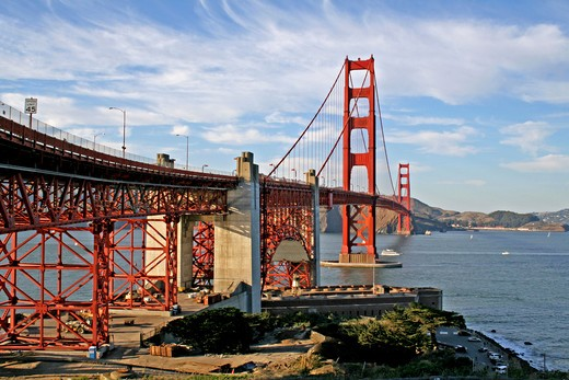 Scenic view of Golden Gate Bridge and Fort Point looking north to Marin Count San Francisco California : Stock Photo
