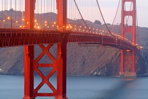 golden Gate Bridge deck at dusk San Francisco California : Stock Photo