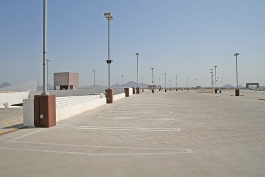 Stock Photo: 4286-85208 Empty parking lot top floor downtown Phoenix Arizona