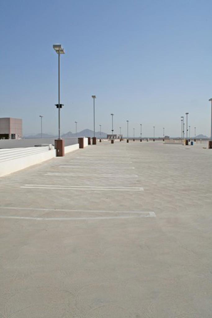 Stock Photo: 4286-85209 Empty parking lot top floor downtown Phoenix Arizona