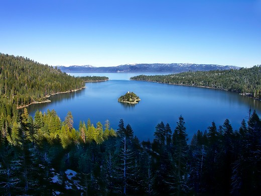 Stock Photo: 4286-85382 Emerald Bay, Lake Tahoe from the western California shore